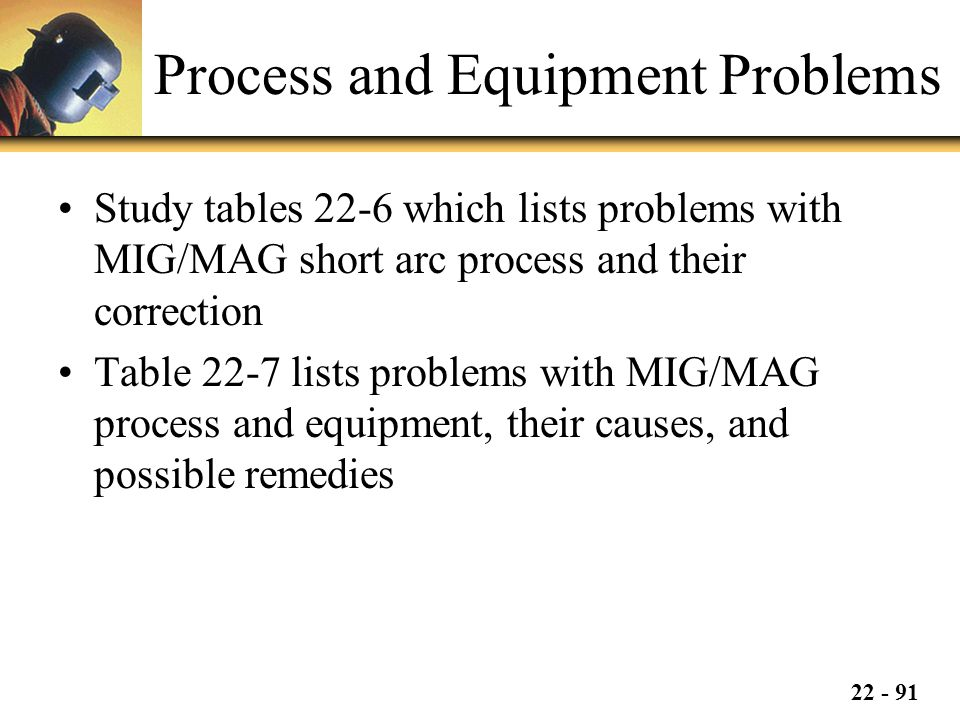 22 - 91 Process and Equipment Problems Study tables 22-6 which lists problems with MIG/MAG short arc process and their correction Table 22-7 lists problems with MIG/MAG process and equipment, their causes, and possible remedies