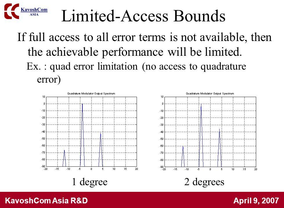 KavoshCom Asia R&D April 9, 2007 Limited-Access Bounds Ex. : quad error limitation (no access to quadrature error) If full access to all error terms i