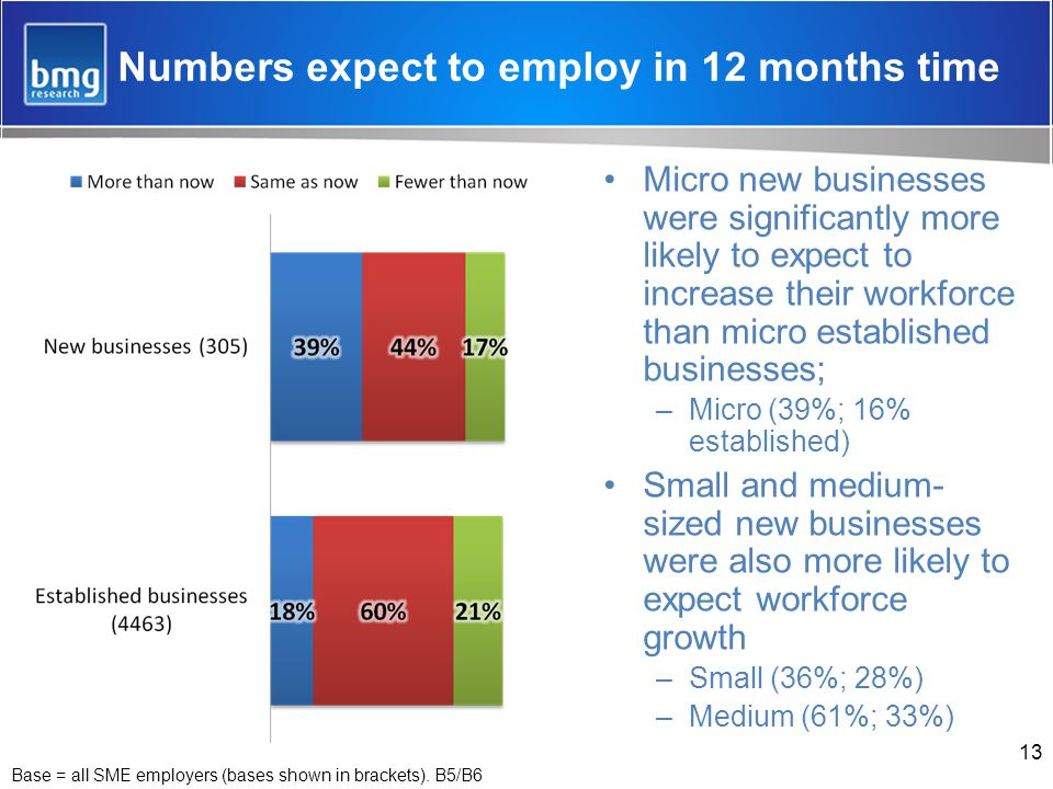 Numbers expect to employ in 12 months time Micro new businesses were significantly more likely to expect to increase their workforce than micro established businesses; –Micro (39%; 16% established) Small and medium- sized new businesses were also more likely to expect workforce growth –Small (36%; 28%) –Medium (61%; 33%) 13 Base = all SME employers (bases shown in brackets).