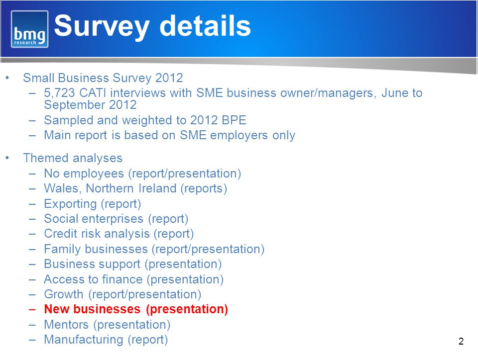 Survey details Small Business Survey 2012 –5,723 CATI interviews with SME business owner/managers, June to September 2012 –Sampled and weighted to 2012 BPE –Main report is based on SME employers only Themed analyses –No employees (report/presentation) –Wales, Northern Ireland (reports) –Exporting (report) –Social enterprises (report) –Credit risk analysis (report) –Family businesses (report/presentation) –Business support (presentation) –Access to finance (presentation) –Growth (report/presentation) –New businesses (presentation) –Mentors (presentation) –Manufacturing (report) 2