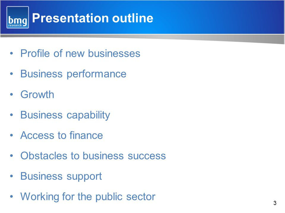 Presentation outline Profile of new businesses Business performance Growth Business capability Access to finance Obstacles to business success Business support Working for the public sector 3