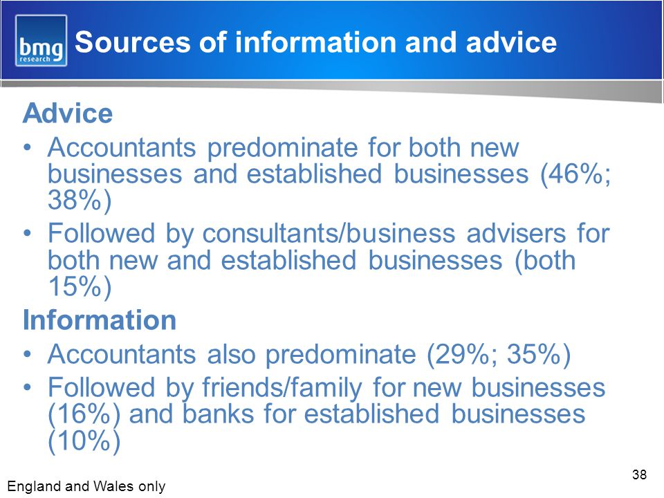 38 Sources of information and advice Advice Accountants predominate for both new businesses and established businesses (46%; 38%) Followed by consultants/business advisers for both new and established businesses (both 15%) Information Accountants also predominate (29%; 35%) Followed by friends/family for new businesses (16%) and banks for established businesses (10%) England and Wales only