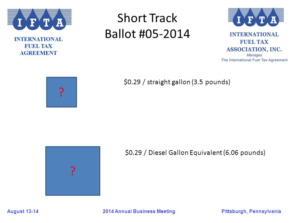 August 13-14Pittsburgh, Pennsylvania 2014 Annual Business Meeting Short Track Ballot #05-2014 ? ? $0.29 / straight gallon (3.5 pounds) $0.29 / Diesel
