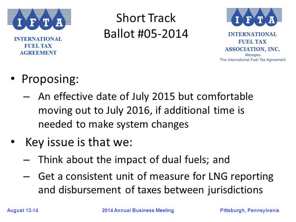 August 13-14Pittsburgh, Pennsylvania 2014 Annual Business Meeting Short Track Ballot #05-2014 Proposing: – An effective date of July 2015 but comforta