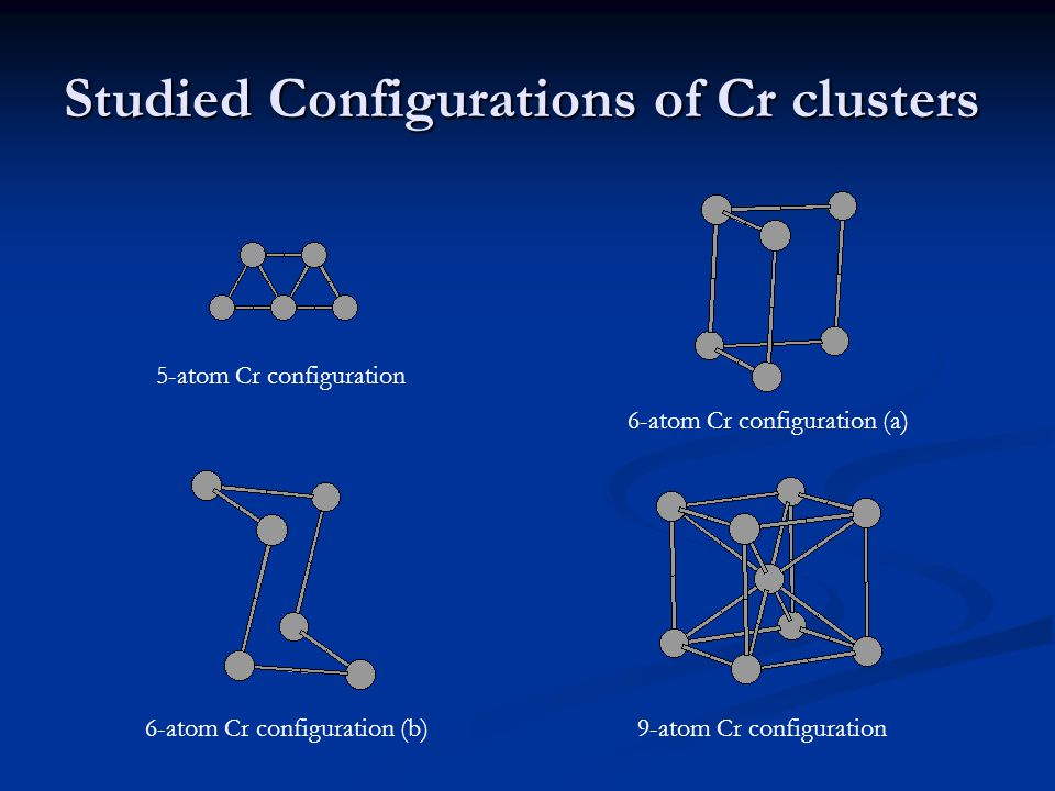 Studied Configurations of Cr clusters 5-atom Cr configuration 6-atom Cr configuration (a) 6-atom Cr configuration (b)9-atom Cr configuration