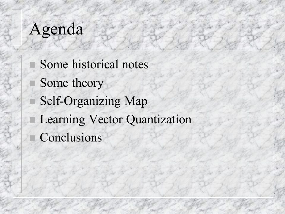 Agenda n Some historical notes n Some theory n Self-Organizing Map n Learning Vector Quantization n Conclusions