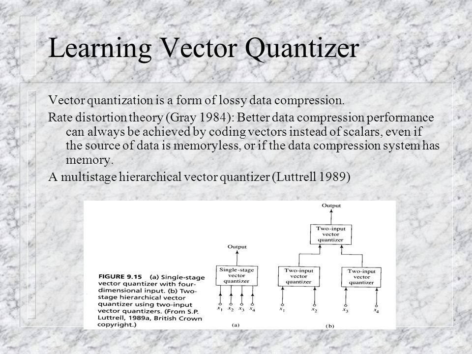 Learning Vector Quantizer Vector quantization is a form of lossy data compression.