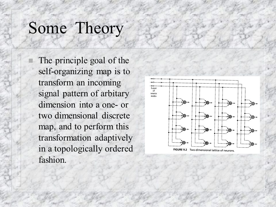 Some Theory n The principle goal of the self-organizing map is to transform an incoming signal pattern of arbitary dimension into a one- or two dimensional discrete map, and to perform this transformation adaptively in a topologically ordered fashion.