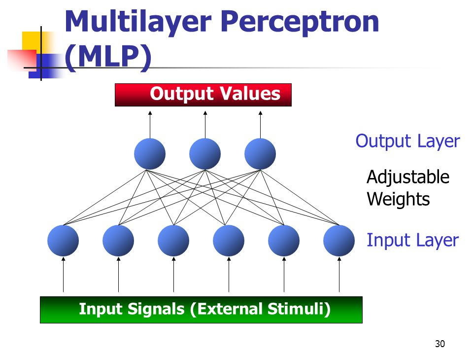30 Multilayer Perceptron (MLP) Output Values Input Signals (External Stimuli) Output Layer Adjustable Weights Input Layer