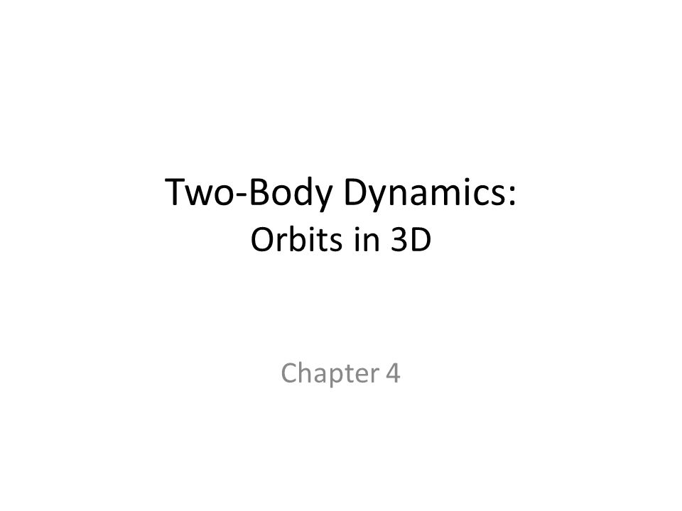 Two-Body Dynamics: Orbits in 3D Chapter 4