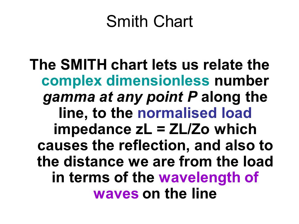 Smith Chart The SMITH chart lets us relate the complex dimensionless number gamma at any point P along the line, to the normalised load impedance zL = ZL/Zo which causes the reflection, and also to the distance we are from the load in terms of the wavelength of waves on the line