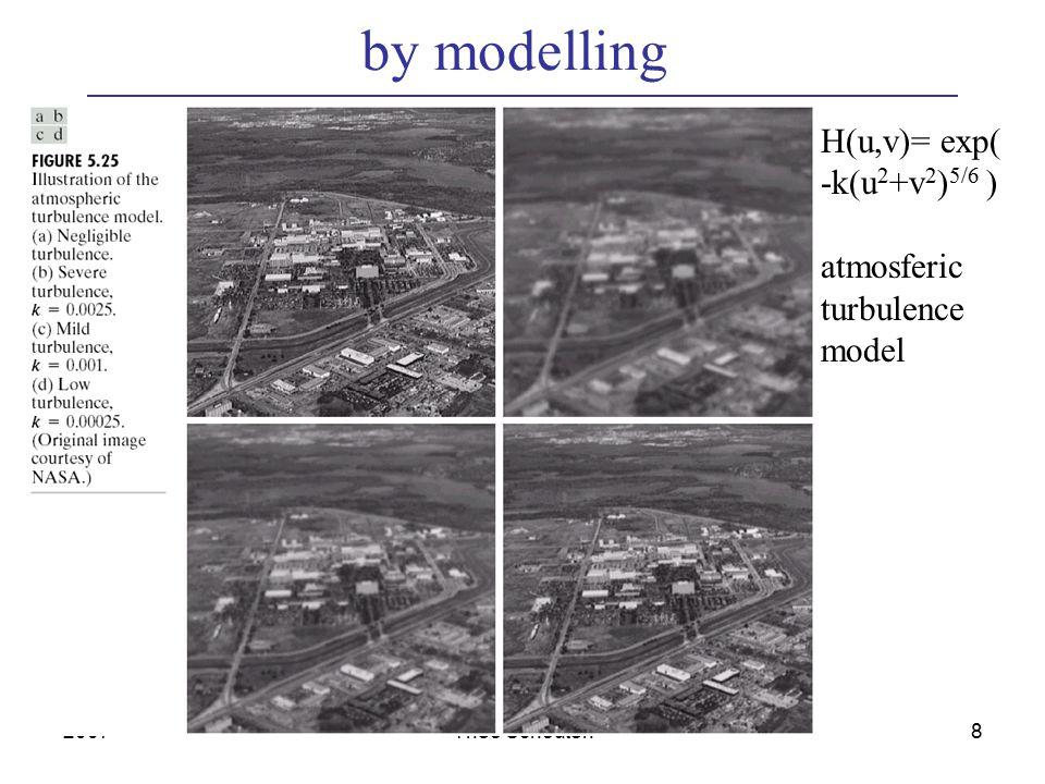 2007Theo Schouten8 by modelling H(u,v)= exp( -k(u 2 +v 2 ) 5/6 ) atmosferic turbulence model