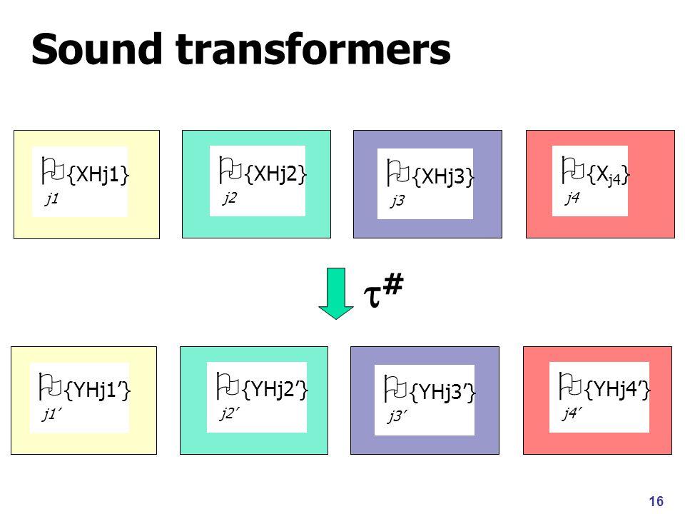 16 Sound transformers  {XHj1} j1  {XHj2} j2  {XHj3} j3  {X j4 } j4  {YHj1'} j1'  {YHj2'} j2'  {YHj3'} j3'  {YHj4'} j4' ##