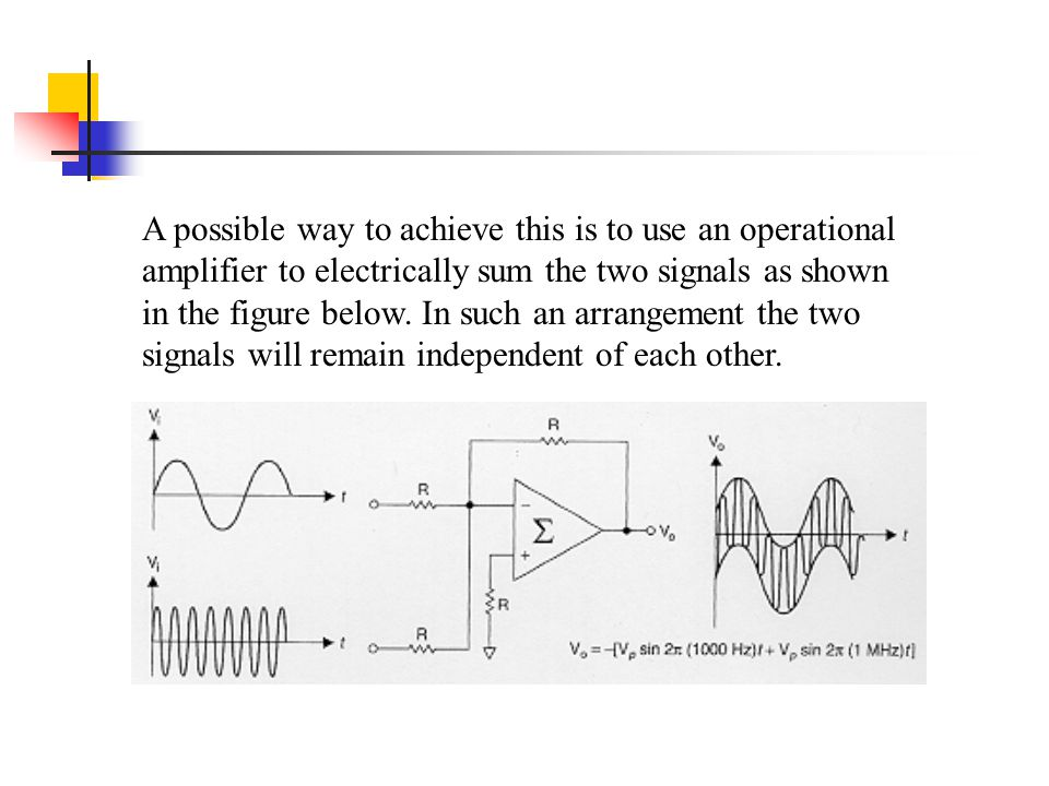 A possible way to achieve this is to use an operational amplifier to electrically sum the two signals as shown in the figure below. In such an arrange
