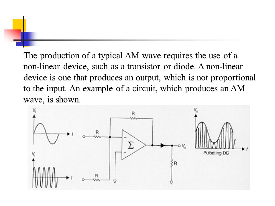 The production of a typical AM wave requires the use of a non-linear device, such as a transistor or diode. A non-linear device is one that produces a