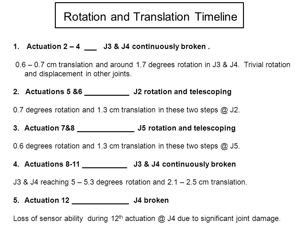Rotation and Translation Timeline 1. Actuation 2 – 4 ___J3 & J4 continuously broken.