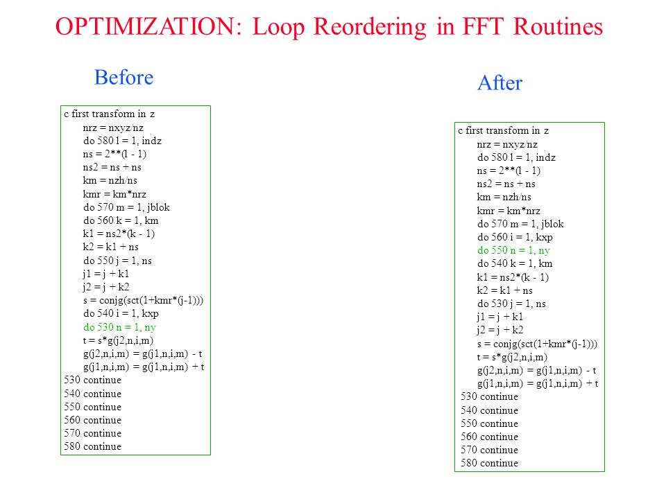 OPTIMIZATION: Loop Reordering in FFT Routines c first transform in z nrz = nxyz/nz do 580 l = 1, indz ns = 2**(l - 1) ns2 = ns + ns km = nzh/ns kmr =