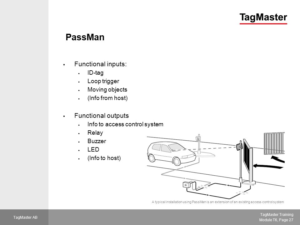 TagMaster Training Module T6, Page 27 TagMaster AB PassMan  Functional inputs:  ID-tag  Loop trigger  Moving objects  (Info from host)  Function