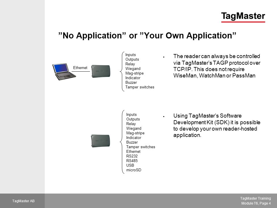 TagMaster Training Module T6, Page 5 TagMaster AB Why use TagMaster's Applications.