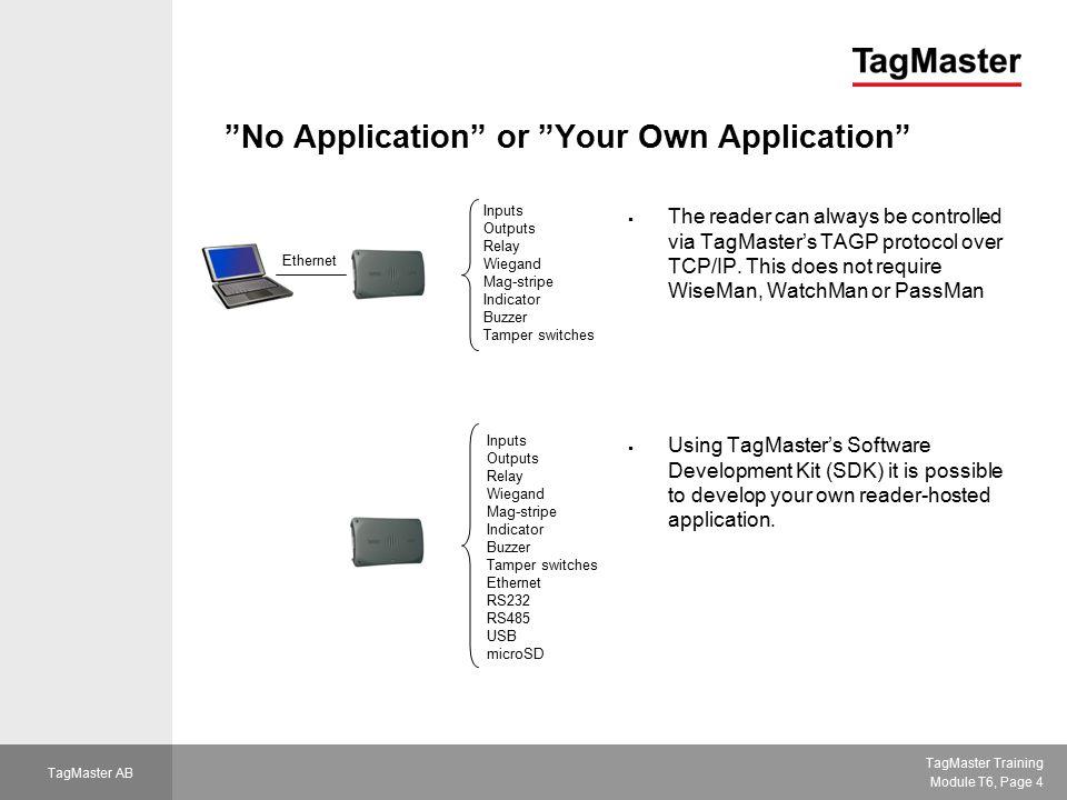TagMaster Training Module T6, Page 15 TagMaster AB WiseMan Managing the log file
