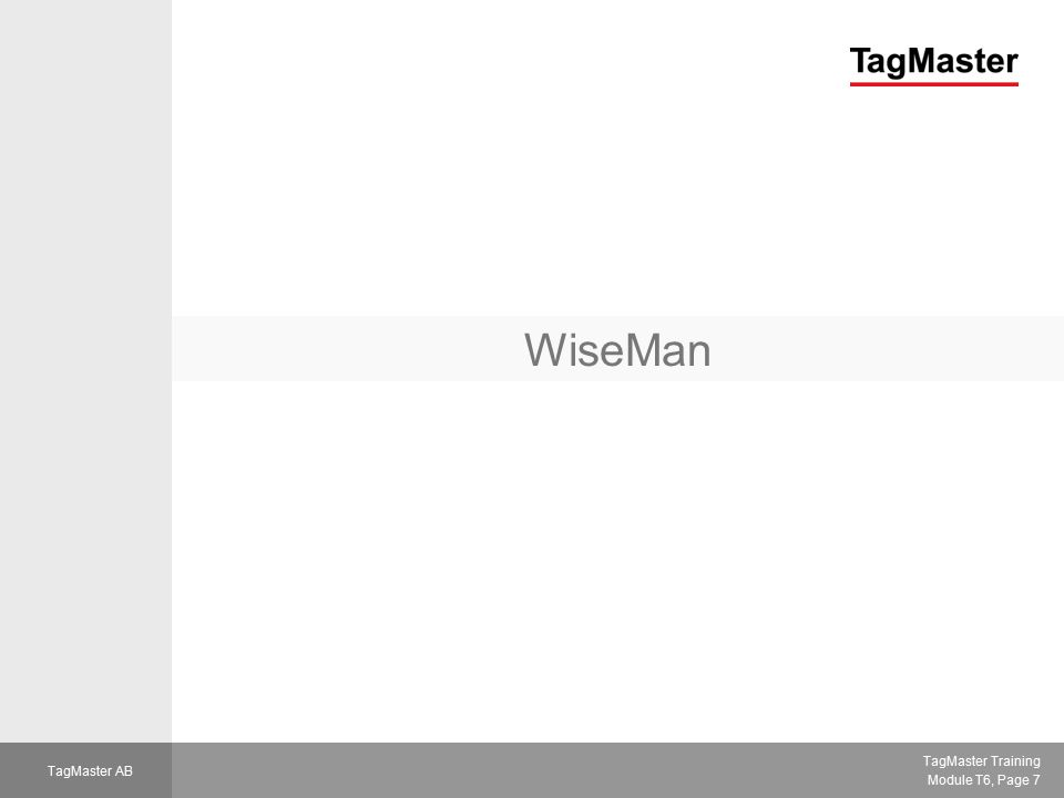 TagMaster Training Module T6, Page 8 TagMaster AB WiseMan  Stand-alone (or host-controlled) system  ID-tag database in reader  Reader makes decisions and controls the gate