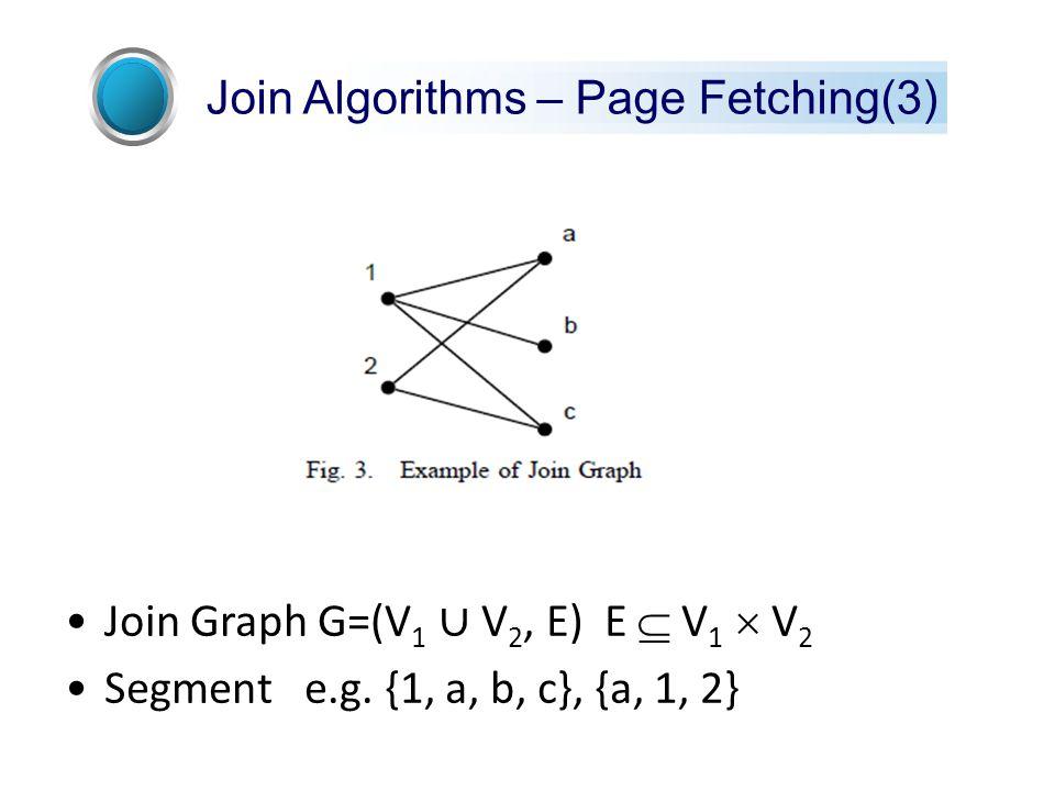 Join Graph G=(V 1 ∪ V 2, E) E  V 1  V 2 Segment e.g.