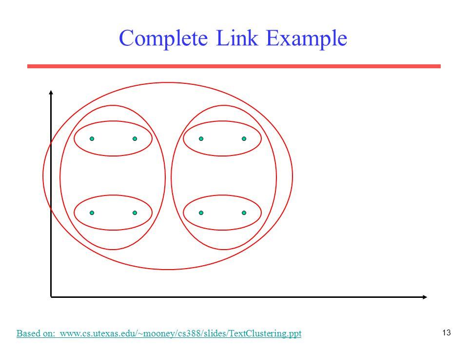 13 Complete Link Example Based on: www.cs.utexas.edu/~mooney/cs388/slides/TextClustering.ppt
