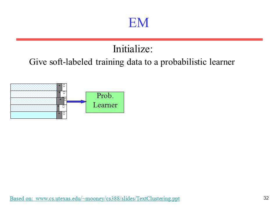 32 EM Prob. Learner + − + − + − + − − + Give soft-labeled training data to a probabilistic learner Initialize: Based on: www.cs.utexas.edu/~mooney/cs3