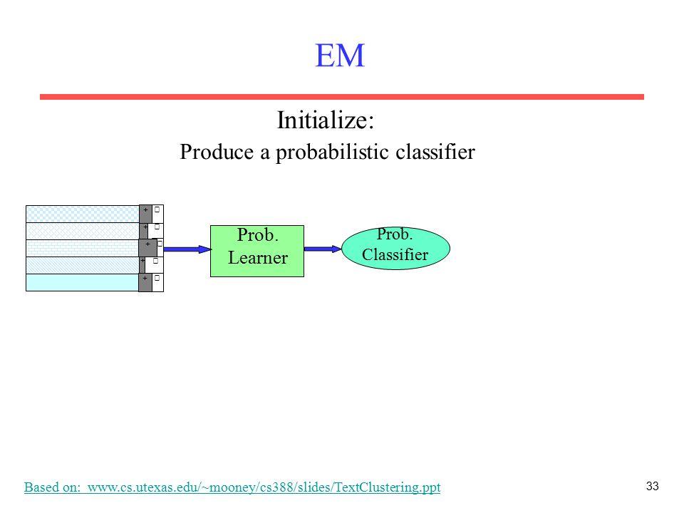 33 EM Prob. Learner Prob. Classifier + − + − + − + − − + Produce a probabilistic classifier Initialize: Based on: www.cs.utexas.edu/~mooney/cs388/slid