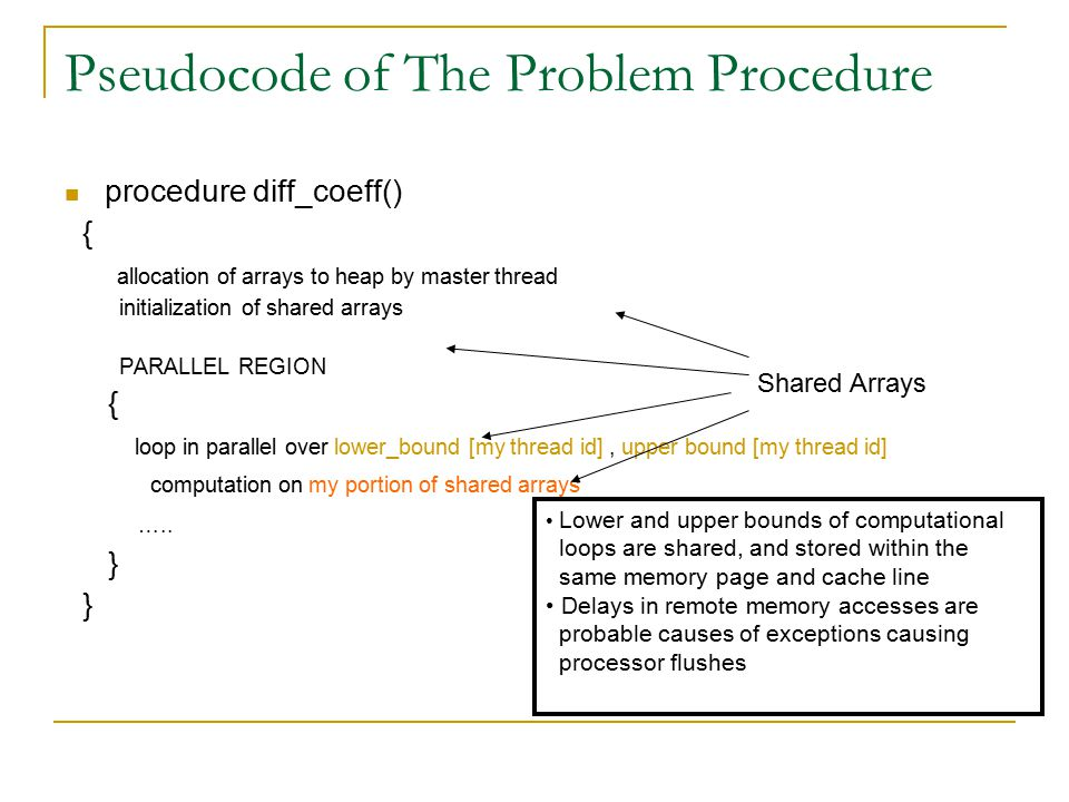 Pseudocode of The Problem Procedure procedure diff_coeff() { allocation of arrays to heap by master thread initialization of shared arrays PARALLEL REGION { loop in parallel over lower_bound [my thread id], upper bound [my thread id] computation on my portion of shared arrays …..