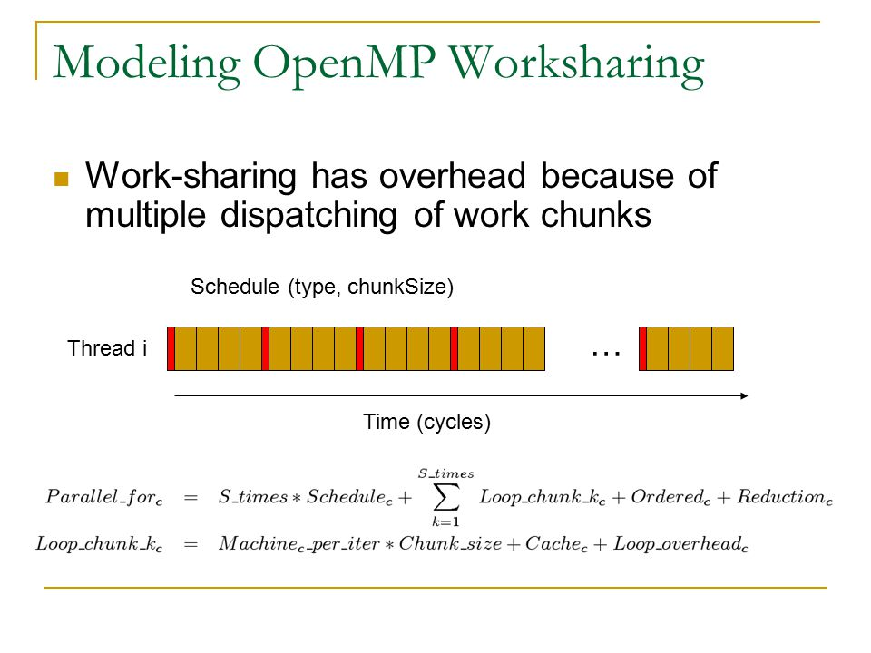 Modeling OpenMP Worksharing Work-sharing has overhead because of multiple dispatching of work chunks … Thread i Schedule (type, chunkSize) Time (cycles)