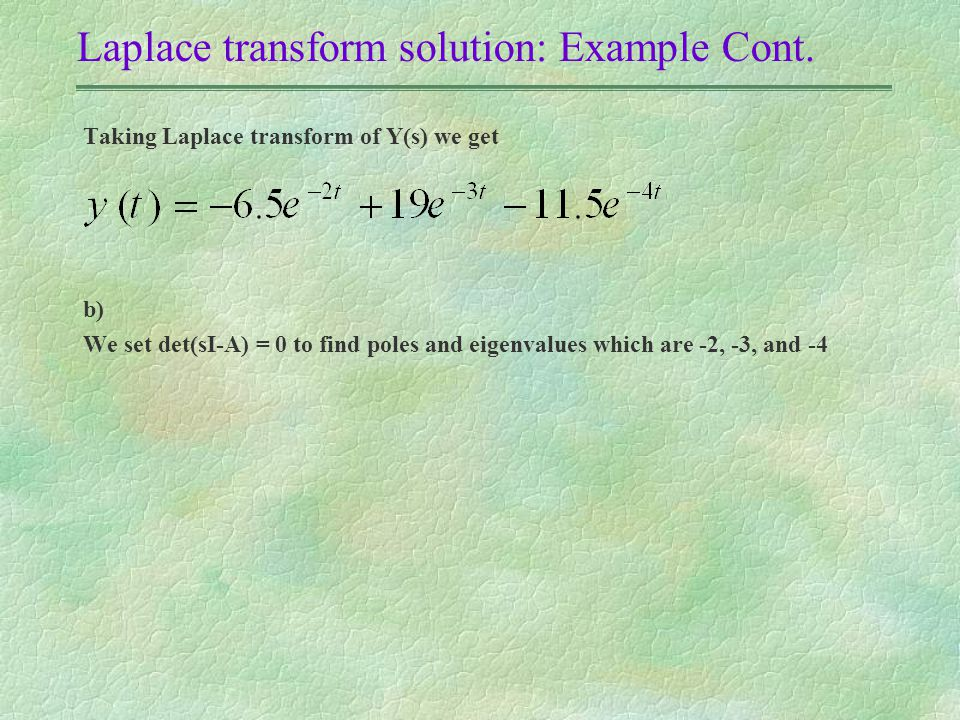Laplace transform solution: Example Cont.