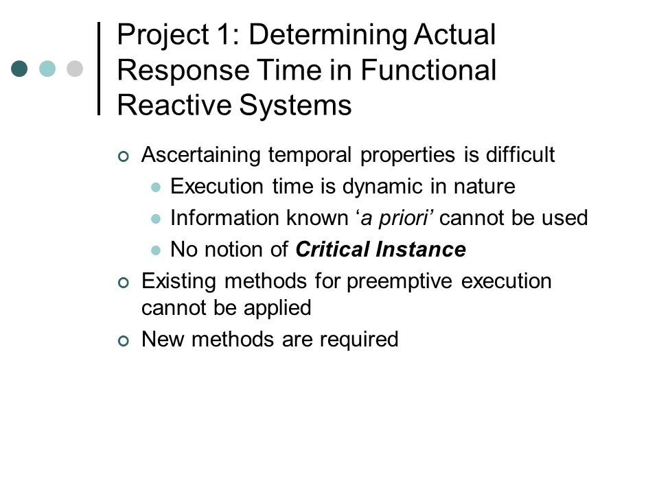Design and Implementation Issues Control and monitoring systems: old and new Model of an embedded/real-time system Scheduling real-time tasks Rate-monotonic scheduler, EDF, LLF Scheduling constraints Multiprocessor scheduling Identical, uniform, heterogeneous multiprocessors Specification, verification, and debugging