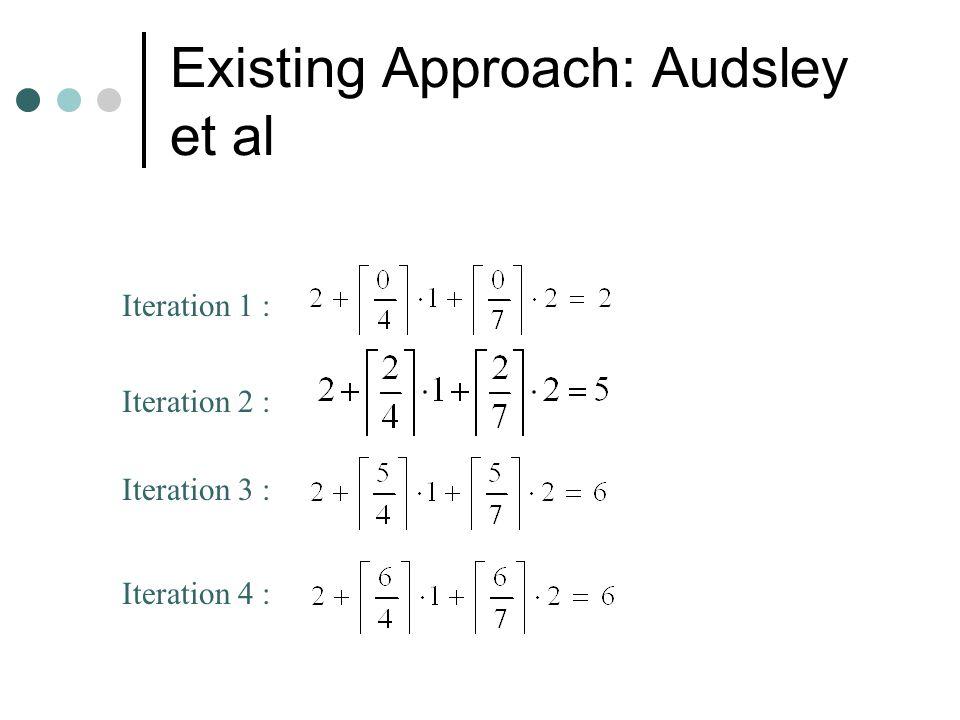 Existing Approach: Audsley et al Find response time of Task j There will be no gaps till Task j completes Utilization of system till Task j completes