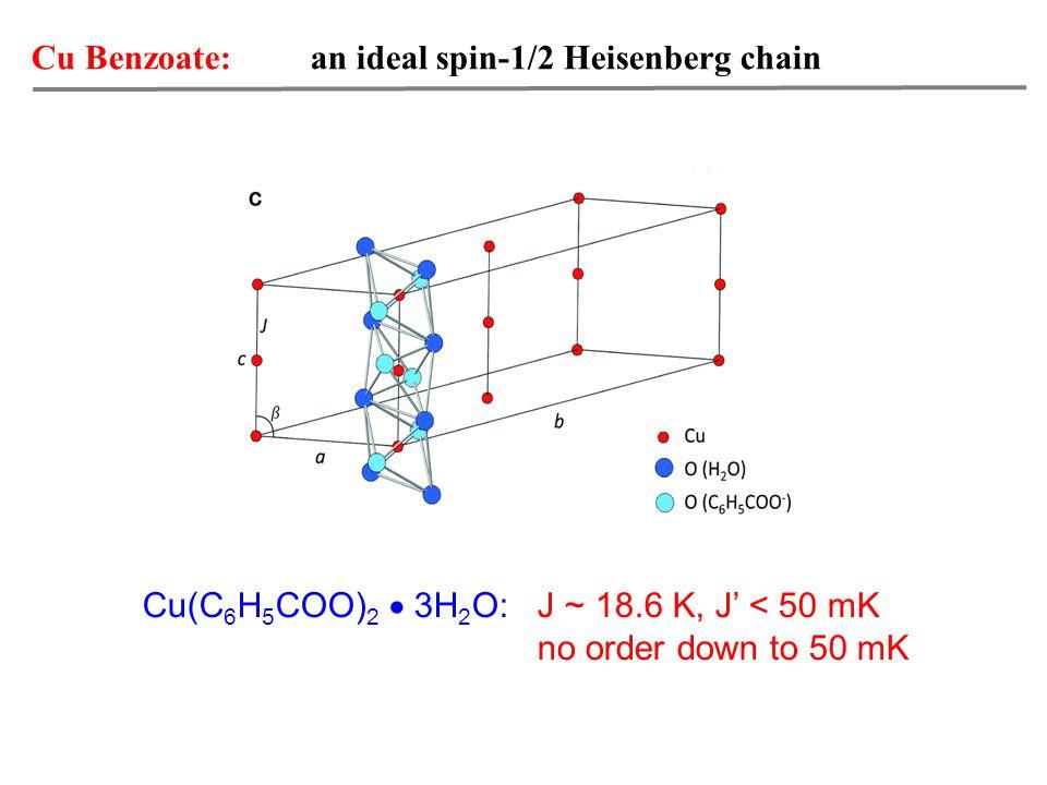 Cu Benzoate: an ideal spin-1/2 Heisenberg chain Cu(C 6 H 5 COO) 2  3H 2 O: J ~ 18.6 K, J' < 50 mK no order down to 50 mK