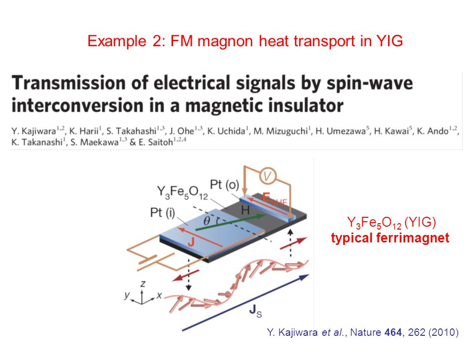 Example 2: FM magnon heat transport in YIG Y.