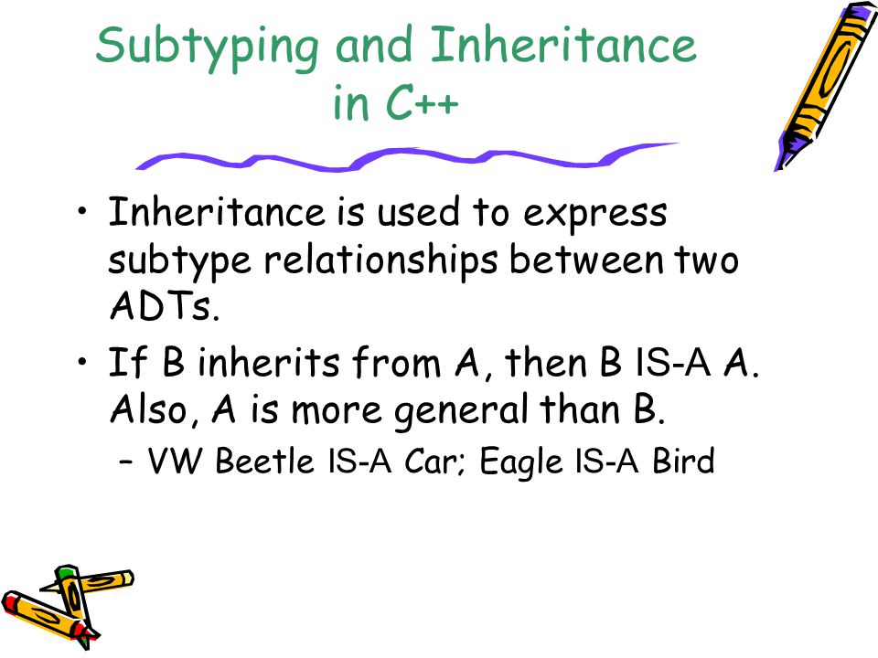 Subtyping and Inheritance in C++ Inheritance is used to express subtype relationships between two ADTs.