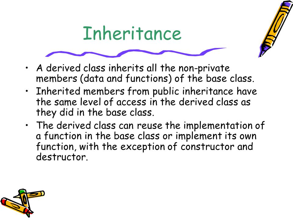 Inheritance A derived class inherits all the non-private members (data and functions) of the base class. Inherited members from public inheritance hav