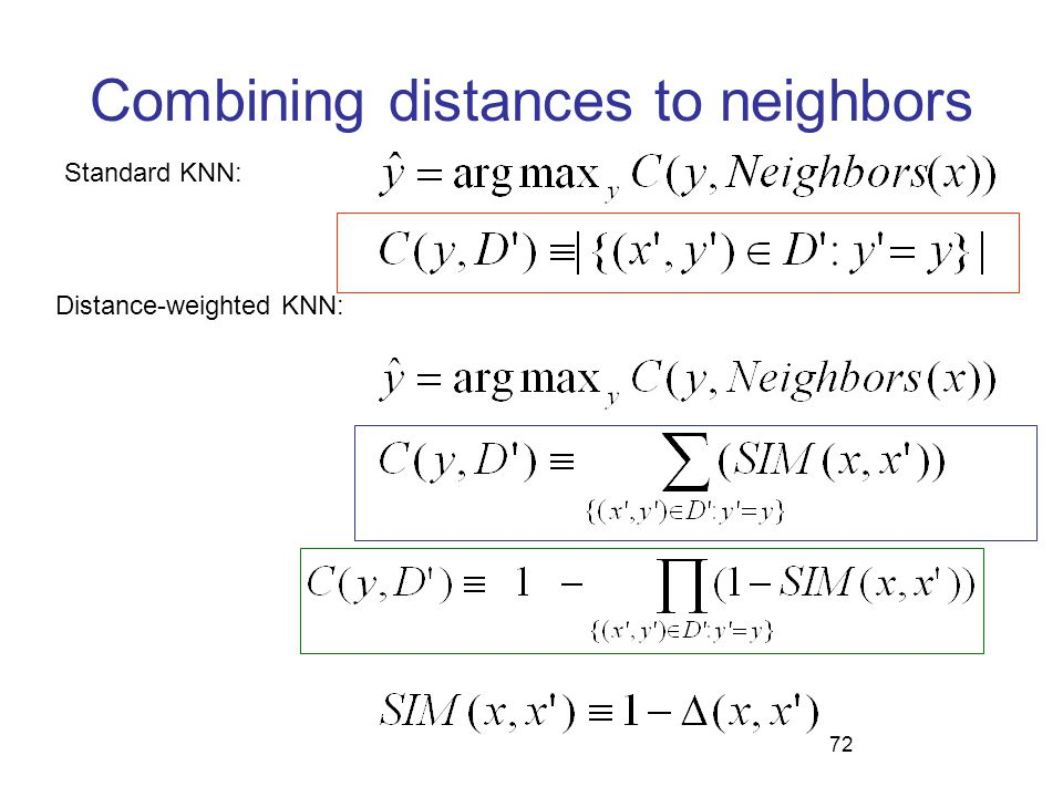 72 Combining distances to neighbors Standard KNN: Distance-weighted KNN: