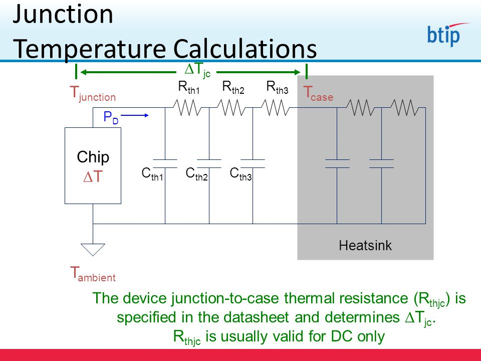 Junction Temperature Calculations The device junction-to-case thermal resistance (R thjc ) is specified in the datasheet and determines  T jc.