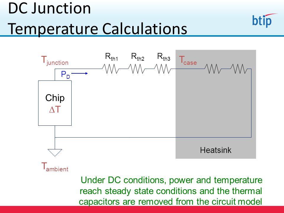 DC Junction Temperature Calculations Under DC conditions, power and temperature reach steady state conditions and the thermal capacitors are removed from the circuit model Chip  T T junction T ambient R th1 R th2 R th3 PDPD Heatsink T case