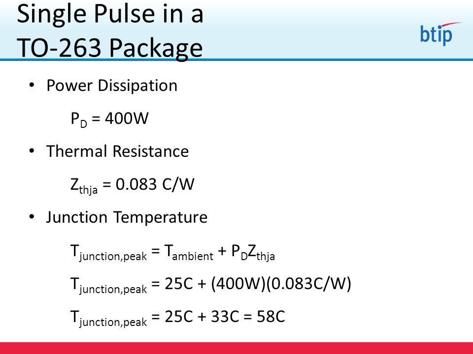 Power Dissipation P D = 400W Thermal Resistance Z thja = 0.083 C/W Junction Temperature T junction,peak = T ambient + P D Z thja T junction,peak = 25C