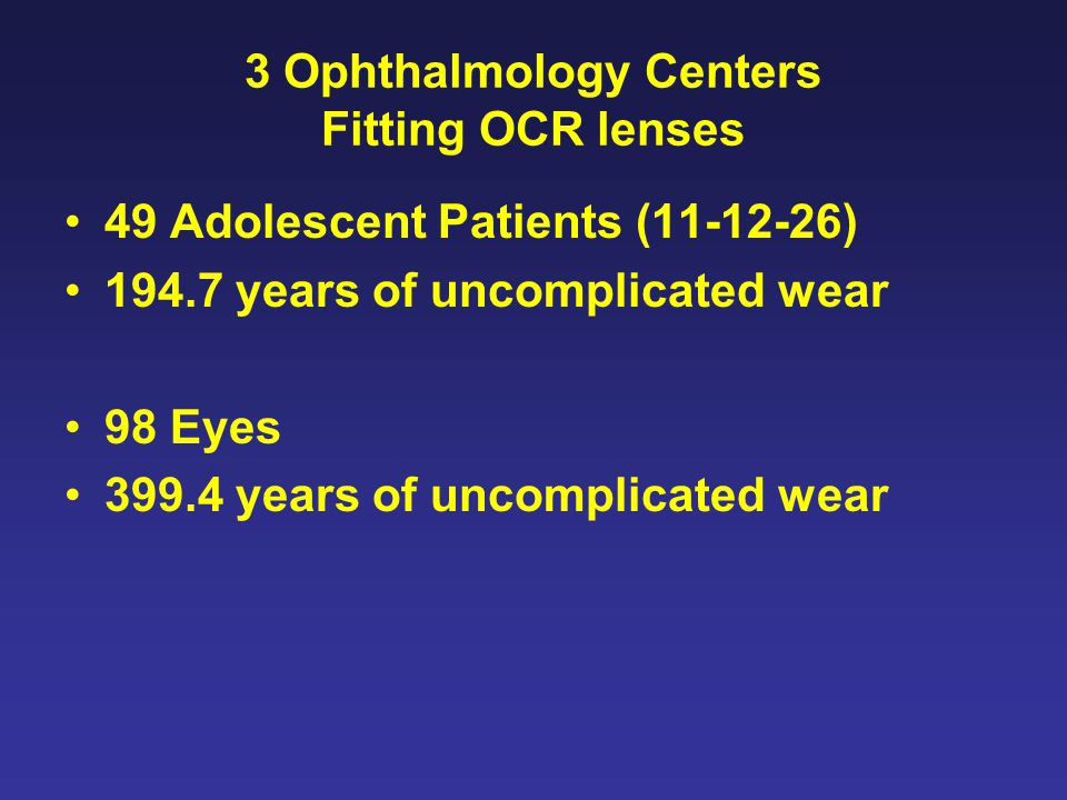 3 Ophthalmology Centers Fitting OCR lenses 49 Adolescent Patients (11-12-26) 194.7 years of uncomplicated wear 98 Eyes 399.4 years of uncomplicated wear