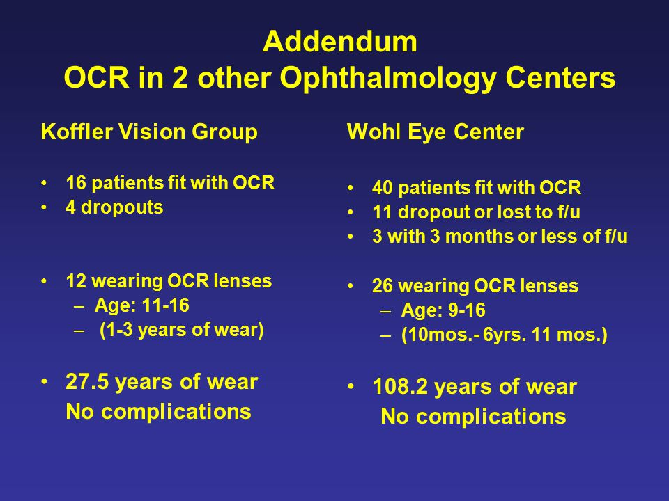 Addendum OCR in 2 other Ophthalmology Centers Koffler Vision Group 16 patients fit with OCR 4 dropouts 12 wearing OCR lenses –Age: 11-16 – (1-3 years of wear) 27.5 years of wear No complications Wohl Eye Center 40 patients fit with OCR 11 dropout or lost to f/u 3 with 3 months or less of f/u 26 wearing OCR lenses –Age: 9-16 –(10mos.- 6yrs.