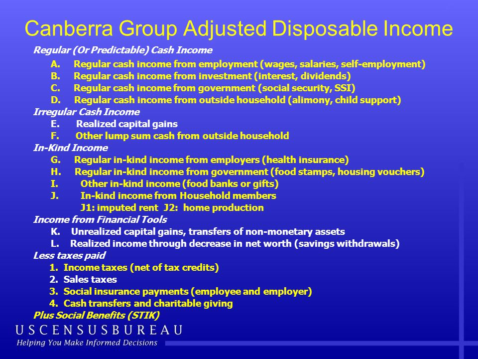 Canberra Group Adjusted Disposable Income Regular (Or Predictable) Cash Income A.
