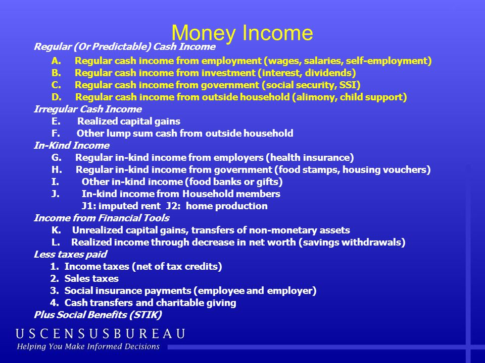 Money Income Regular (Or Predictable) Cash Income A.