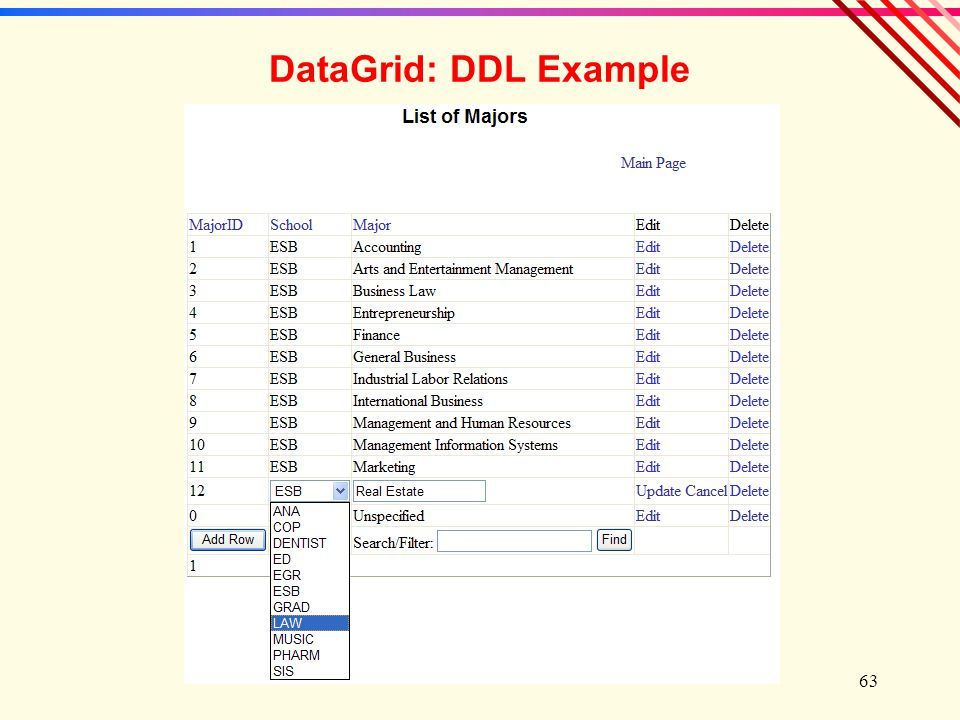 63 DataGrid: DDL Example
