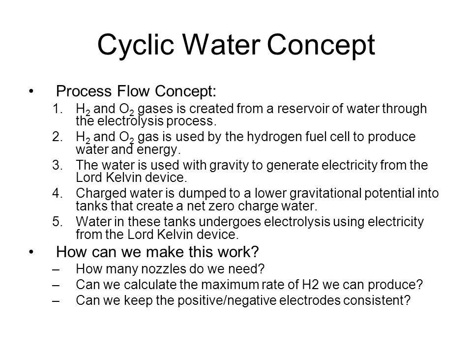 Cyclic Water Concept Process Flow Concept: 1.H 2 and O 2 gases is created from a reservoir of water through the electrolysis process.