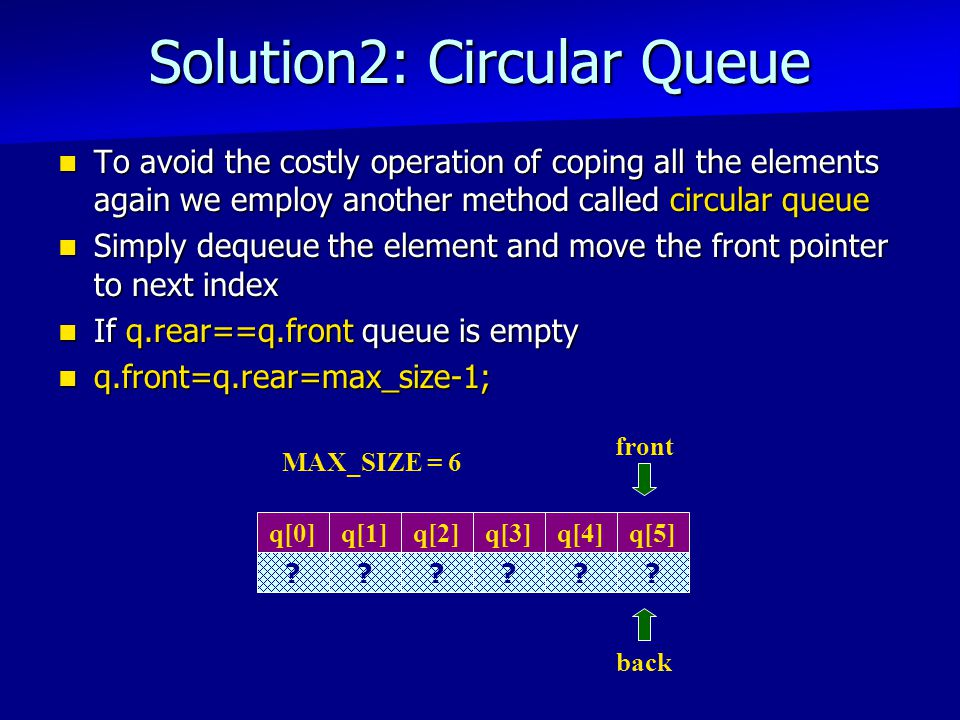 Solution2: Circular Queue To avoid the costly operation of coping all the elements again we employ another method called circular queue To avoid the costly operation of coping all the elements again we employ another method called circular queue Simply dequeue the element and move the front pointer to next index Simply dequeue the element and move the front pointer to next index If q.rear==q.front queue is empty If q.rear==q.front queue is empty q.front=q.rear=max_size-1; q.front=q.rear=max_size-1; q[3] .