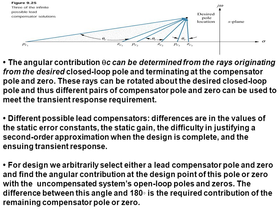 The angular contribution  c can be determined from the rays originating from the desired closed-loop pole and terminating at the compensator pole and
